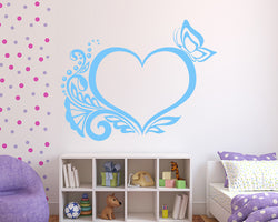 Butterfly Heart Outline Decal Vinyl Wall Sticker