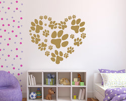 Heart Shape Paw Prints Decal Vinyl Wall Sticker
