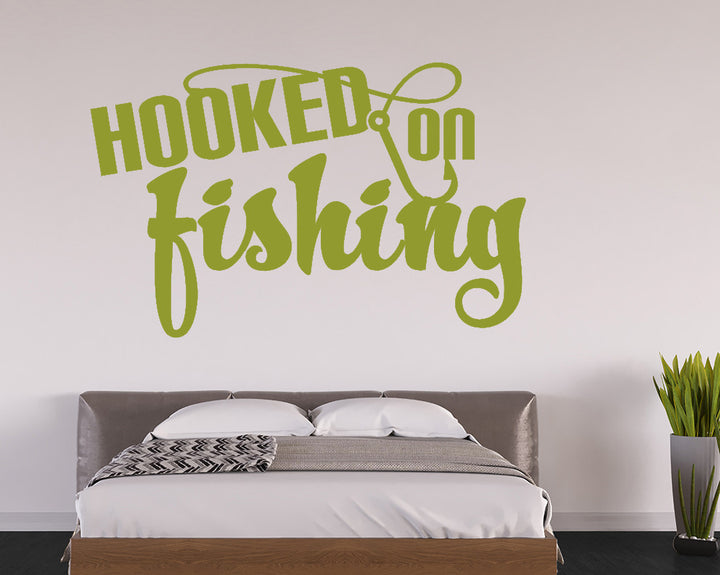Hooked On Fishing Decal Vinyl Wall Sticker