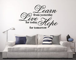 Learn Live Hope Quote Decal Vinyl Wall Sticker