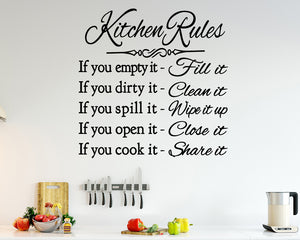Kitchen Rules List Decal Vinyl Wall Sticker