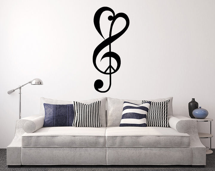 Love Peace Music Symbol Decal Vinyl Wall Sticker