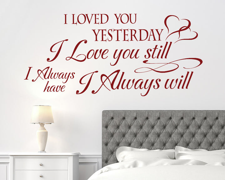 Love You Always Quote Decal Vinyl Wall Sticker