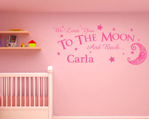 Personalised Love Moon Decal Vinyl Wall Sticker