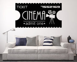 Cinema Film Ticket Decal Vinyl Wall Sticker