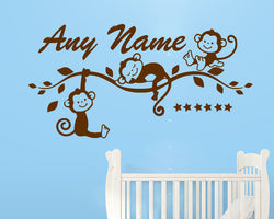 Personalised Cute Monkey Decal Vinyl Wall Sticker