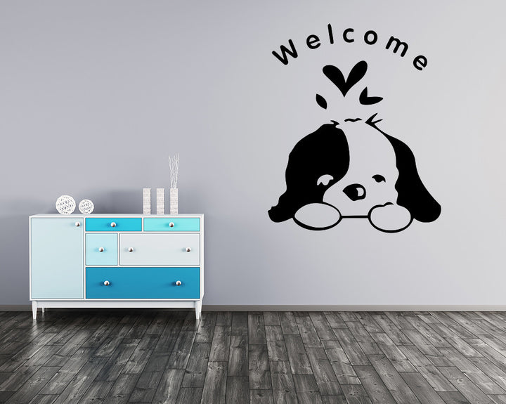 Cute Welcome Puppy Decal Vinyl Wall Sticker