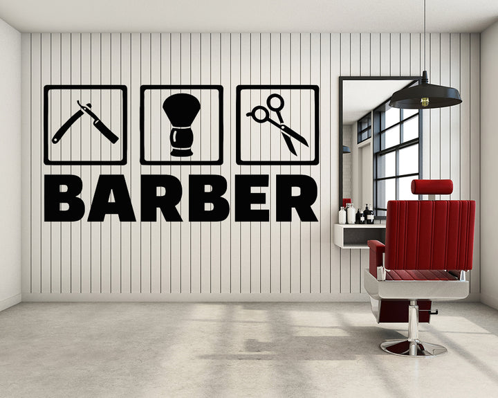 Barber Razor Haircut Decal Vinyl Wall Sticker