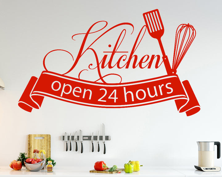 Open Food 24 Hours Decal Vinyl Wall Sticker