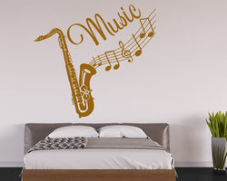 Music Saxophone Notes Decal Vinyl Wall Sticker