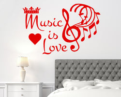 Music Love Crown Decal Vinyl Wall Sticker