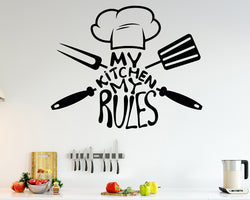 Cook Rules Chef Decal Vinyl Wall Sticker