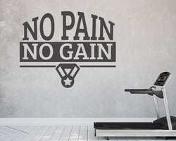 No Pain Gain Fitness Decal Vinyl Wall Sticker