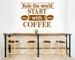 Rule World Coffee Decal Vinyl Wall Sticker