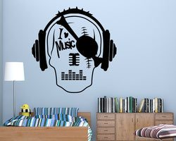 Love Music Skull Decal Vinyl Wall Sticker