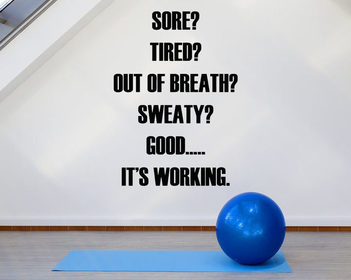 Sore Tired Exercise Decal Vinyl Wall Sticker