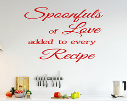 Spoonful Love Recipe Decal Vinyl Wall Sticker