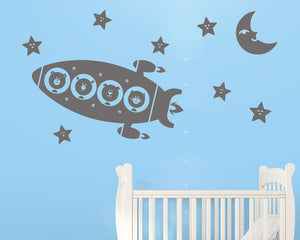 Cute Animal Rocket Decal Vinyl Wall Sticker