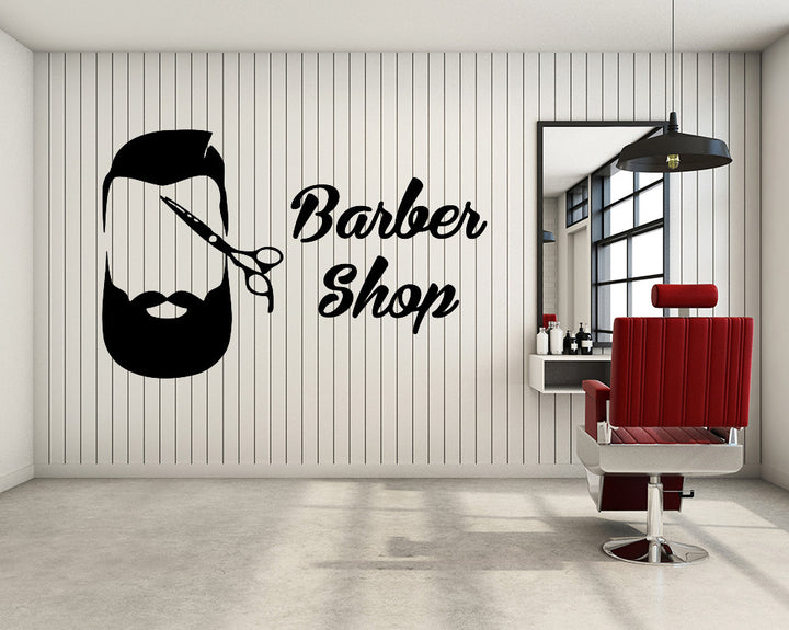 Barber Shop Long Beard Decal Vinyl Wall Sticker