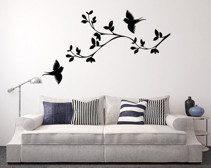 Bird Leaves Branch Decal Vinyl Wall Sticker