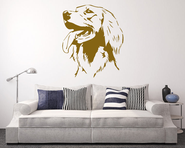 Golden Retreiver Dog Head Decal Vinyl Wall Sticker