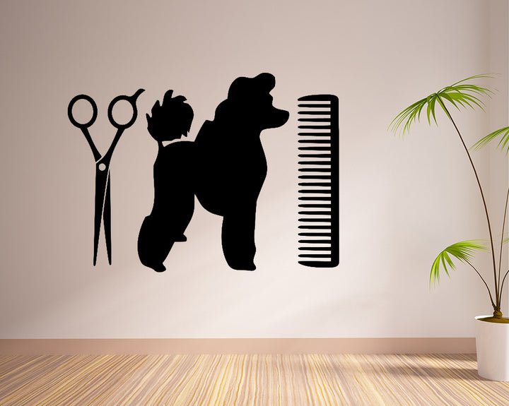 Poodle Dog Grooming Decal Vinyl Wall Sticker