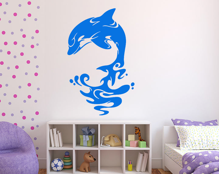 Dolphin Splash Design Decal Vinyl Wall Sticker