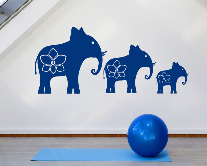 Yoga Elephants Decal Vinyl Wall Sticker