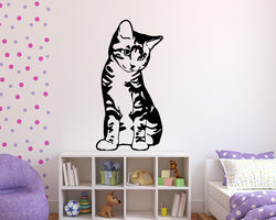 Cute Sitting Kitten Decal Vinyl Wall Sticker
