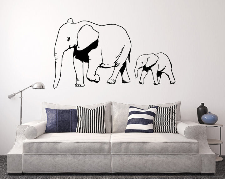Baby Mummy Elephant Decal Vinyl Wall Sticker