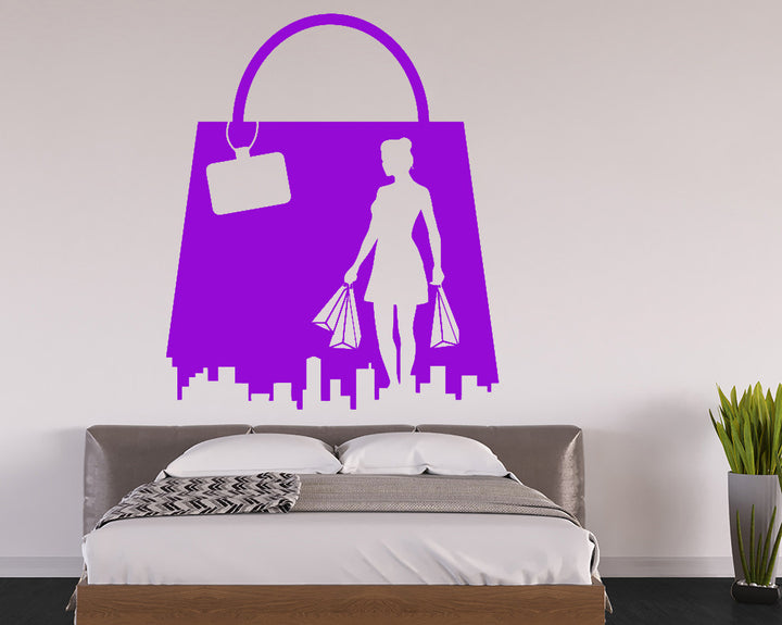 Shopping Fashion Gril Decal Vinyl Wall Sticker