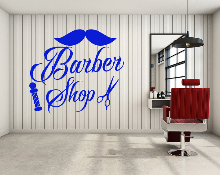Moustache Barber Shop Decal Vinyl Wall Sticker