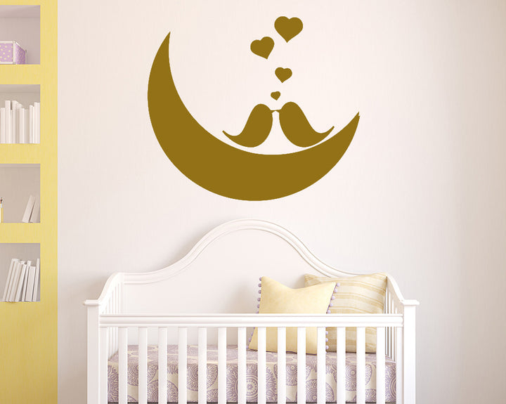 Love Birds Moon Decal Vinyl Wall Sticker