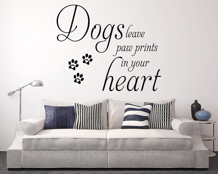 Heart Paw Prints Dog Decal Vinyl Wall Sticker