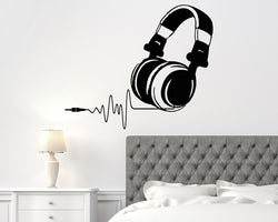 Headphones Music Heartbeat Decal Vinyl Wall Sticker