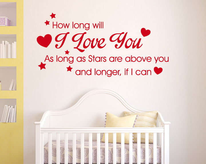 Cute Love Stars Quote Decal Vinyl Wall Sticker