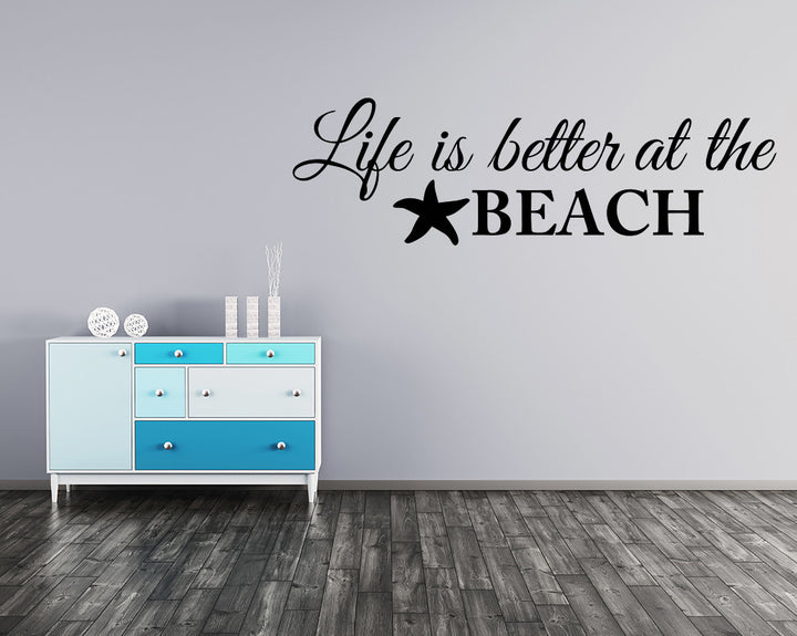 Beach Life Quote Decal Vinyl Wall Sticker