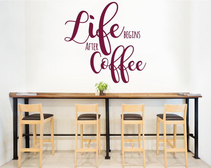 Coffee Life Quote Decal Vinyl Wall Sticker