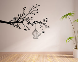 Bird Cage Branch Decal Vinyl Wall Sticker