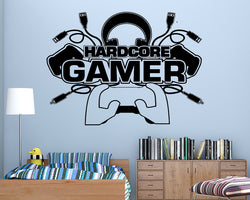 Hardcore Gamer Controllers Decal Vinyl Wall Sticker