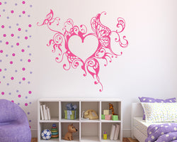 Cool Butterfly Heart Decal Vinyl Wall Sticker
