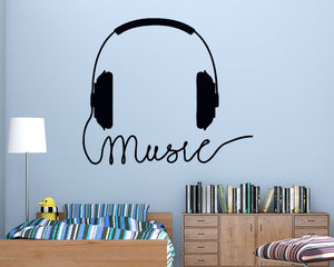Music Headphones Cable Decal Vinyl Wall Sticker