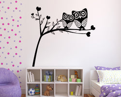 Cute Owl Heart Branch Decal Vinyl Wall Sticker