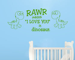 Rawr Love Dinosaur Decal Vinyl Wall Sticker