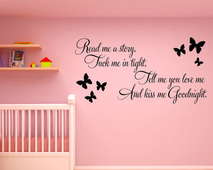 Cute Kiss Me Goodnight Decal Vinyl Wall Sticker