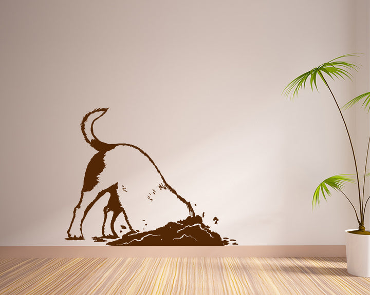 Dog Digging Hole Decal Vinyl Wall Sticker