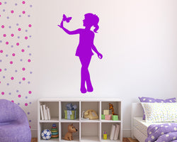 Girl Holding Butterfly Decal Vinyl Wall Sticker
