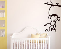 Cute Monkey Branch Decal Vinyl Wall Sticker