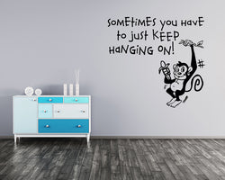 Hanging On Monkey Decal Vinyl Wall Sticker