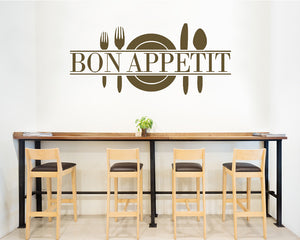 Bon Appetit Plate Cutlery Decal Vinyl Wall Sticker